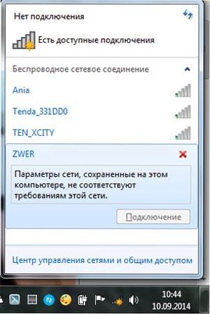 параметры сети сохраненные на этом компьютере не соответствуют требованиям этой сети