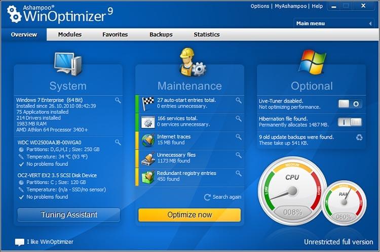 Оптимизация системы Ashampoo WinOptimizer