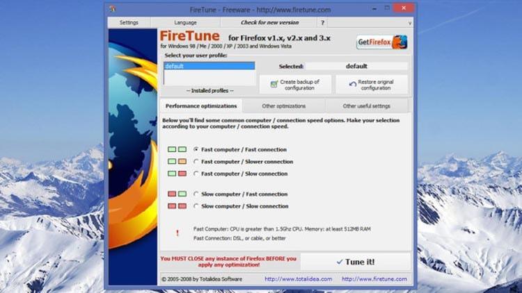Оптимизация Firefox с помощью FireTune