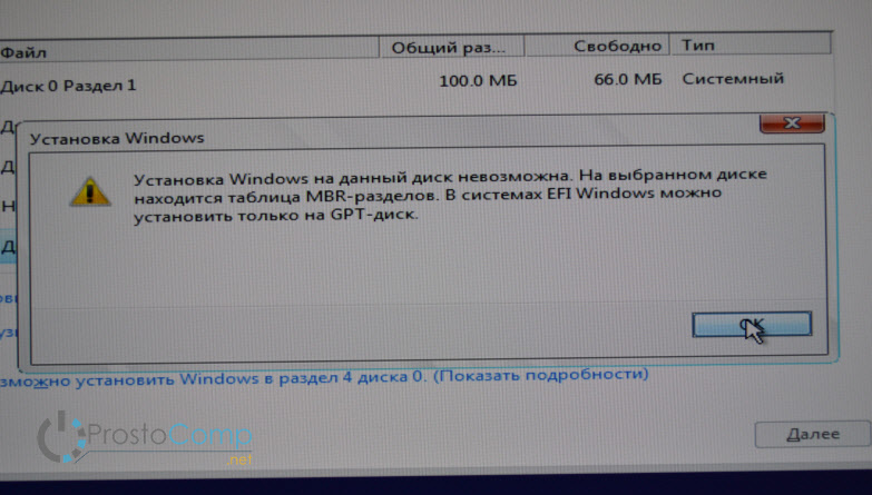 Установка Widnows 10 на данный диск невозможна