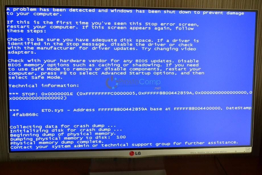 Windows 7: синий экран 0x0000001E. ETD.sys
