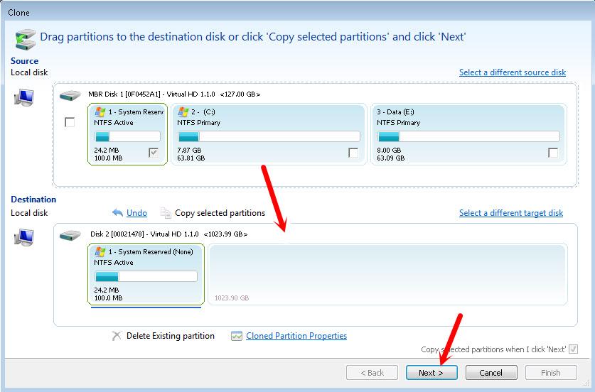 Клонирование всех разделов жесткого диска на SSD