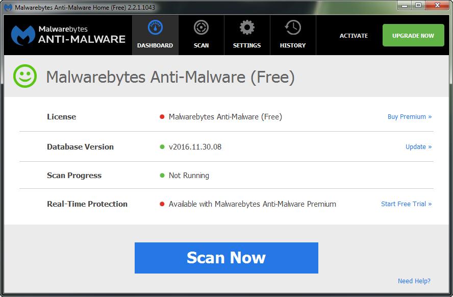 AntiMalware для удаления программы Ask Toolbar
