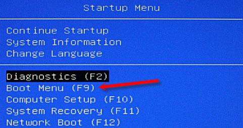 Boot Menu на ноутбуке HP