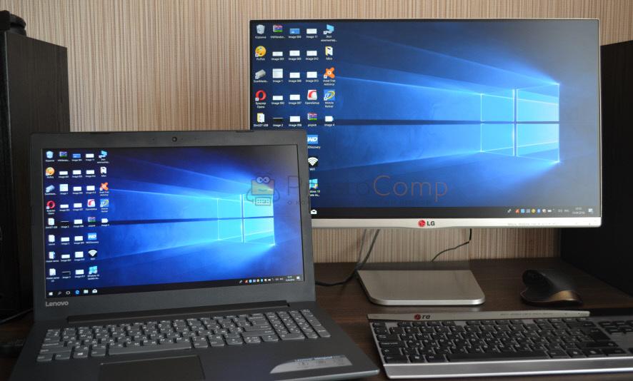 Ноутбук с подключенным внешним монитором